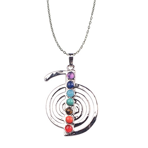 Bamsod 7 Chakras Gemstones Necklace Healing Pointed Crystal Chakra Reiki Pendent Necklace Stainless Steel Chain Semi Precious Stones Amber