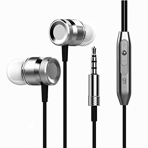 Mobile Cell Phone Mp3 (Maxonor New Metal Headphone Super Bass Earphones Volume Control With Microphone Headsets For All Mobile Phone Mp3 PC (Gray))