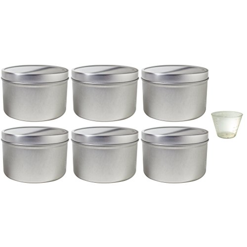 16 oz Large Metal Steel Tin Deep Container with Tight Sealed Cover Lid (6 pack) + Measuring Cup (Tin Deep Container)