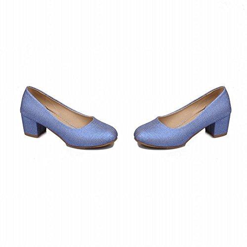 brillante Show con bloque tacón Zapatos mujer para corte azules tacón de Shine y de de de cuero A74HqFcp