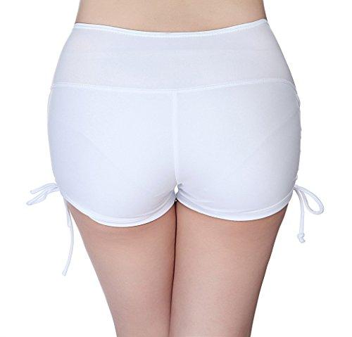 YoungSoul Shorts de baño para mujer - Trajes de playa boardshorts - Bikini de pantalon con frunces en el lateral - Braguitas y Culotes de bikinis Blanco