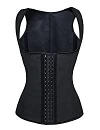 YIANNA Womens Waist Cincher Boned Latex Waist Trainer Vest Tummy Tuck Body Shaper