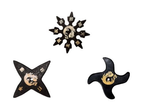 (Tiger Claw Ninja Rubber Stars Assorted - 4 Points, 8 Points, Waver - Pack of 3)
