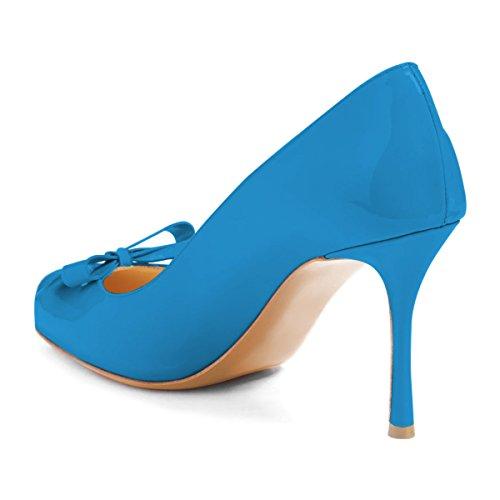 Fsj Vrouwen Leuke Ronde Neus Hoge Hak Boog Pumps Slip Op Stilettos Dia Uitsparing Schoenen Maat 4-15 Us Blauw