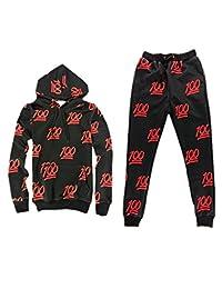 LJYH Unisex 100 Score Emoji Joggers hoodie Sweatshirt set