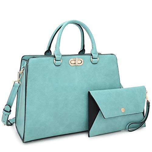 - Dasein Women Fashion Handbags Tote Purses Shoulder Bags Top Handle Satchel Purse Set 2pcs Light Blue