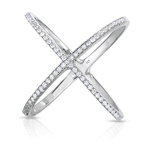 Unique Royal Jewelry 925 Sterling Silver Crisscross X Ring Micro Pave Cubic Zirconia Rhodium Plated Long Ring (Size 9) ()
