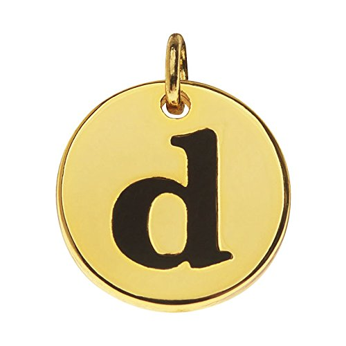 Beadaholique Lead-Free Pewter, Round Alphabet Charm Lowercase Letter 'd' 13mm, 1 Piece, Gold Plated ()
