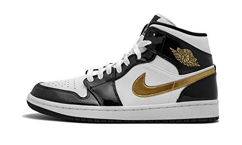 Jordan Air 1 Mid Se (Black/Metallic Gold-White, 8)