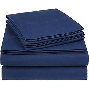 AmazonBasics Essential Cotton Blend Bed Sheet Set, Queen, Navy