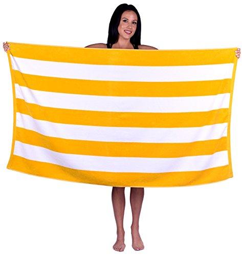 Cabana Stripe Terry Velour Beach Towel (1 Towel, Yellow)