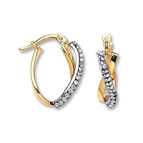 9ct or jaune ovale Cristal Kiss Boucles d'oreilles créoles