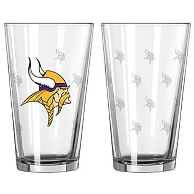 NFL Pint Glass Cup (2 Pack) - Minnesota Vikings