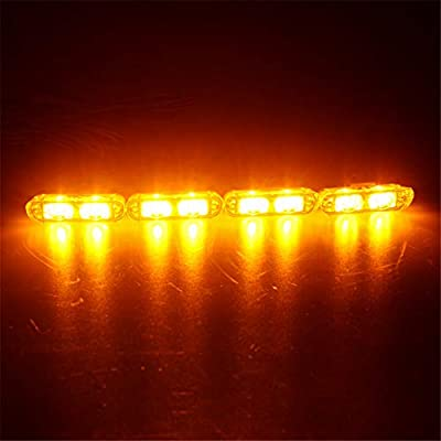 Clidr 4X2 Ambulance Police light 2LED Wireless Remote DC 12V led Warning light Car Truck Light Flashing Firemen Lights (Amber): Automotive