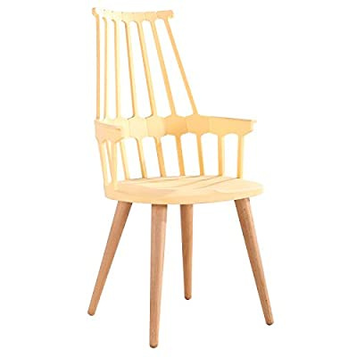 Design Guild Chair with Wood Legs, Beige - Chair Material: Polypropylene Leg material: wood Dimensions: 21.25 x 21.6 x 39.7 inches - kitchen-dining-room-furniture, kitchen-dining-room, kitchen-dining-room-chairs - 41oprqKnX7L. SS400  -