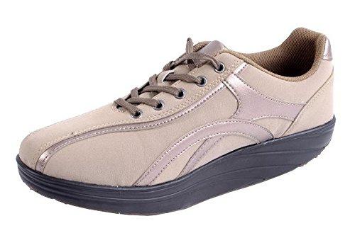 Damen Aktiv Outdoor Schuhe mit Rundsohle Fitnessschuhe Sneaker Gesundheitsschuhe Aktivschuhe Gondelschuhe Freizeitschuhe beige Gr. 37-40