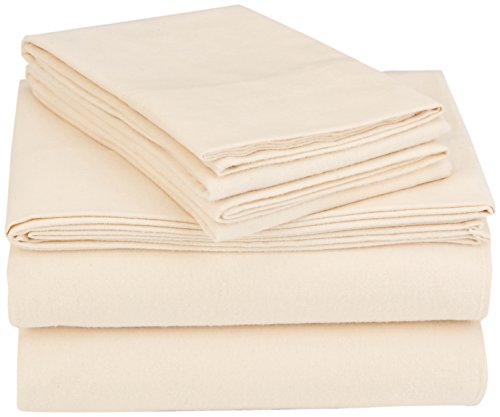 Coyuchi 1013288 Organic Cloud Brushed Flannel Sheet Set, Full, Natural