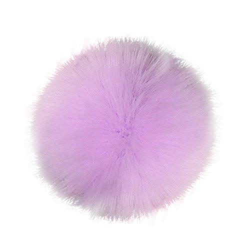 1 pompón de pelo sintético con botón de presión, para tejer, sombrero extraíble, Púrpura, 10cm/3.9', 1