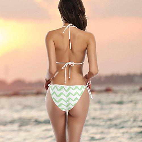 Onduleux Pièces Rayons Deux Bain Vert multicolore Bikini A Alaza Aquarelle Femme Maglie qx6UgU