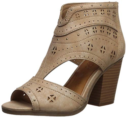 Sugar Women's Viveca Peep Toe Ankle Bootie with Side Cut Out Boot, natural tumbled metallic 6 M -