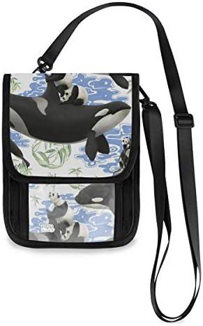トラベルウォレット ミニ ネックポーチトラベルポーチ ポータブル シャチ柄 パンダ 小さな財布 斜めのパッケージ 首ひも調節可能 ネックポーチ スキミング防止 男女兼用 トラベルポーチ カードケース