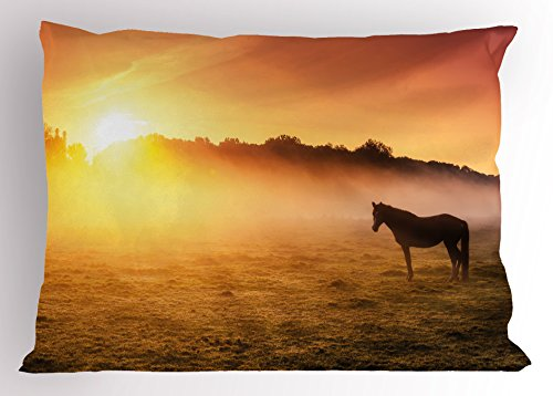 Ambesonne Horse Decor Pillow Sham, Arabian Horses Grazing on Pasture at Sundown Dramatic Foggy Scenery, Decorative Standard Size Printed Pillowcase, 26 X 20 inches, Coral Yellow Brown by Ambesonne