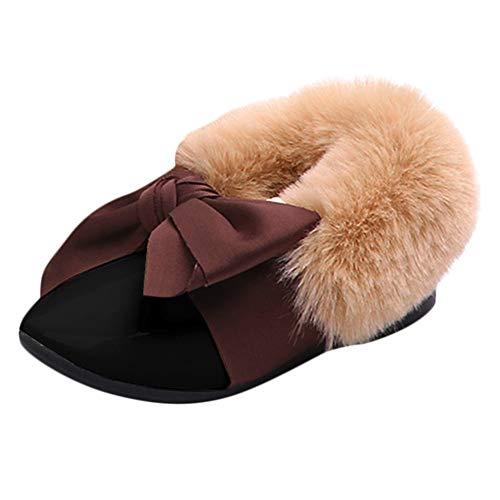 AgrinTol Children Toddler Baby Fur Sneaker Girls Bow Warm Soft Anti-Slip Single Shoes
