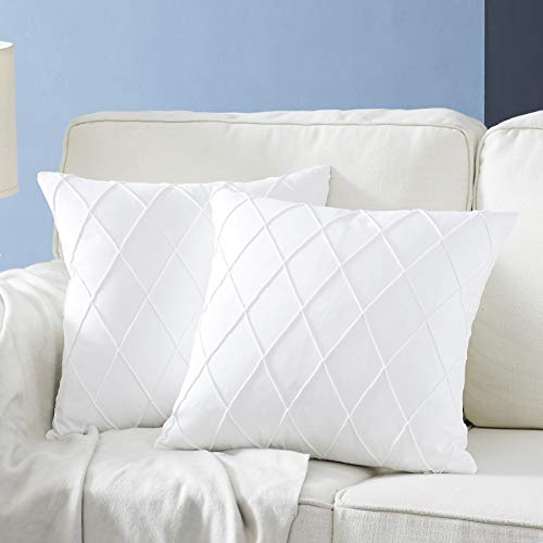 Longhui bedding Pure White Throw Pillow Covers - 2-Pack 18 x 18 Inch Cushion Covers - Sturdy and Discrete Zipper Opening - Premium Quality Polyester - Decorative Pillow Covers for Couch Sofa Bed