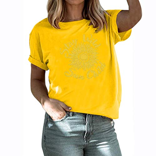 (NIUQI Women's Casual Short Sleeve Letter Sunflower Printed T Shirts Blouse Tops D Yellow)