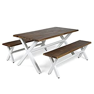 Great Deal Furniture Cassie Outdoor Faux Live Edge 3 Piece Acacia Wood Picnic Set, Dark Oak