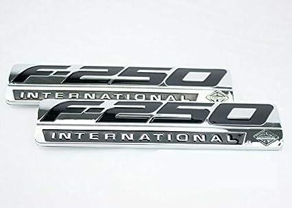 2 PACK CUSTOM CHROME F250 POWERSTROKE INTERNATIONAL FENDER BADGES EMBLEMS TAILGATE CHROME BLACK