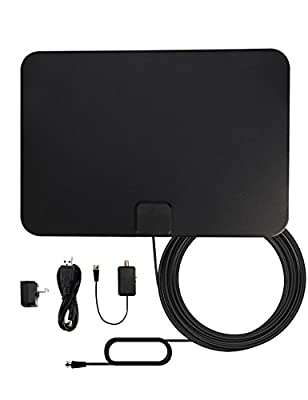 TV Antenna, WEIO HD Antenna Digital Antenna HDTV Antenna 50 Mile Range HD TV Antennas High Definition TV Antenna for Digital TV Indoor with Detachable Amplifier Booster and 10Ft Copper Coax Cable