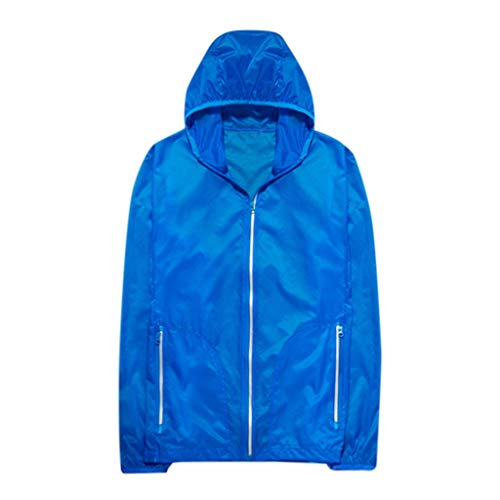 (Pongfunsy Reflective Jacket with Hoodie and Waterproof Wind Breaker for Men Women Hiking Cycling Running Safety Jacket Blue)