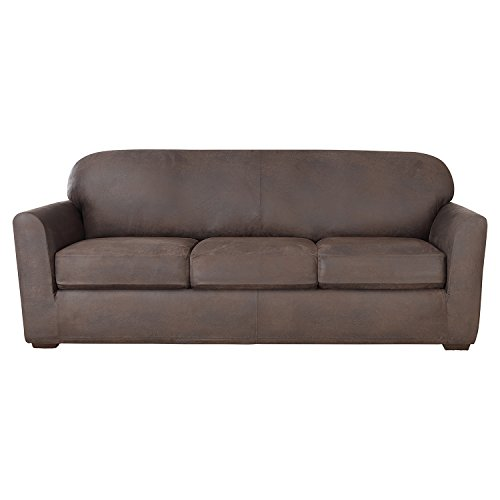 Sure Fit Ultimate Stretch Leather - Sofa Slipcover  - Weathered Saddle (SF44050)