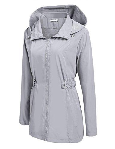 Fanala Women Lightweight Waterproof Jacket Hooded Outdoor Windbreaker Rain coats (Belted Womens Raincoat)