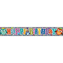 Simon Elvin Flower/Owl Birthday Foil Banner (One Size) (Multicolored)