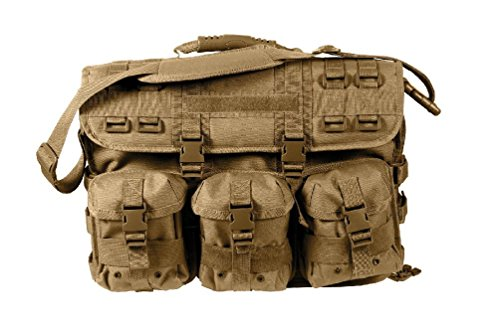 Molle Tactical Laptop Briefcase - Removable Pouches - Black Tan Foliage Acu by Ovedcray Clothing