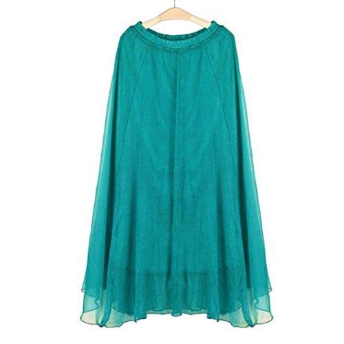 Jupe femmes Unique lastique Vert soie taille de en mousseline de Robes longue de taille Internet plage rArOZqv