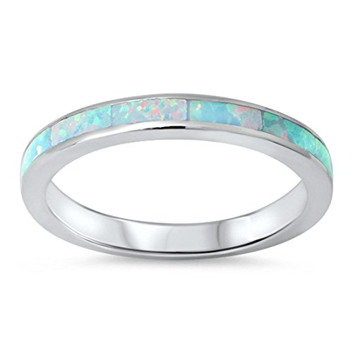 3mm Full Eternity Stackable Wedding Engagement Band Ring Round Lab Created White Opal 925 Sterling Silver