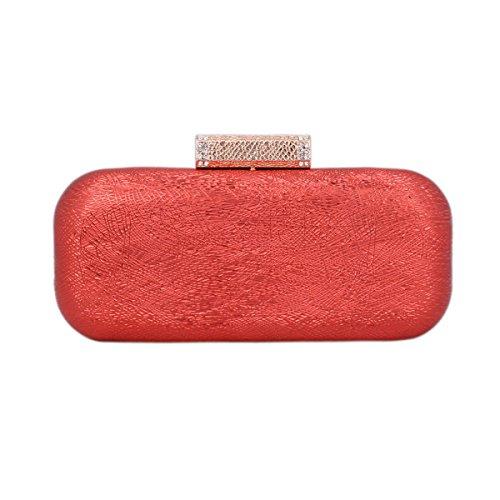 Damara Para Señoras Clutch De Mano Al Hombro Con Hilos Retros Muy Antiguo Elegante Por Bodas Tipo Cuadrado,Rojo Rojo