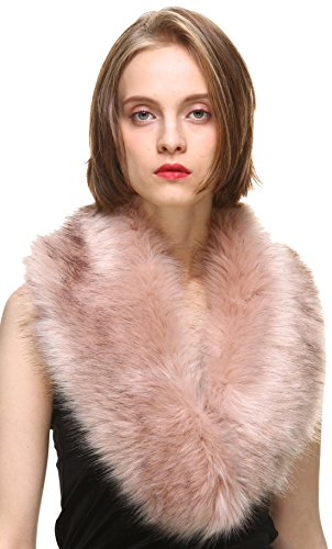 Fur Collar (Vogueearth Women'Faux Fur Neck Scarf For Winter Coat Collar Pink)