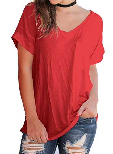 Shirt Women's Tops Summer Sleeve T Loose Short Red Basic Casual Tee Pocket Bodycon4U Blouse TZRFZw
