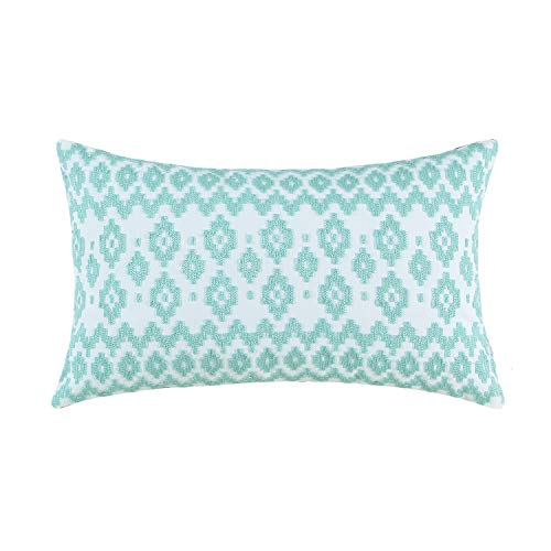 Aitliving Decorative Accent Lumbar Pillowcase Embroidered Cotton Canvas Geometric Diamonds Pattern Empire Throw Pillow Shell, Eggshell Light Blue 12x20, 30x50cm