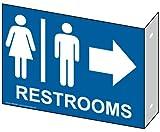 ComplianceSigns Aluminum Restroom - Public / Private sign, 9 x 7 inch Blue