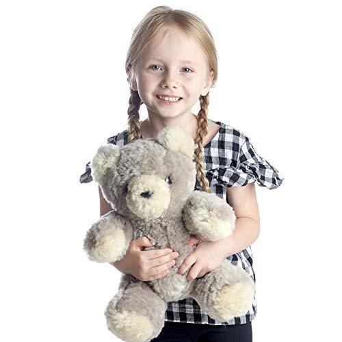 Desert Breeze Distributing Natural Lambskin Teddy Bear, Stuffed Animal Plush Toy, Luxuriously Soft and Cuddly Merino Wool, by Minidoka Sheepskin Bear Lambskin Soft Toy