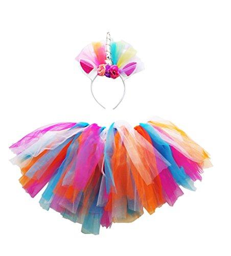 Yunko Unicorn Girl Women Coseplay Hairhoop Princess Artificial Flowers Hair Hoop Tutu Skirt (Head hoop (Tutu Accessories)