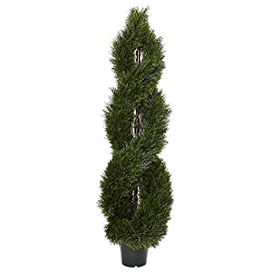 Nearly Natural 5483 5' Pond Cypress Spiral Topiary UV Resistant (Indoor/Outdoor) 68