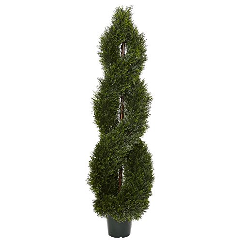 (Nearly Natural 5483 5' Pond Cypress Spiral Topiary UV Resistant (Indoor/Outdoor))
