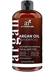 Art Naturals Organic Moroccan Argan-Oil Shampoo - Moisturizing, Volumizing Sulfate Free Shampoo for Women, Men and Teens - Used for Colored and all Hair Types, Anti-Aging Hair Care, 16 Ounce Bottle