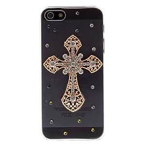 GONGXI-Diamond Deluxe Mira 3D caso duro del diseño PC Transparente Cruz de Oro para el iPhone 5/5S